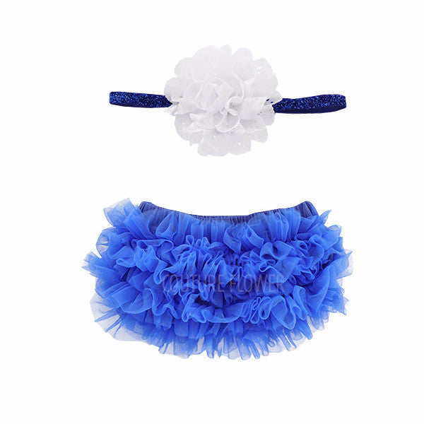 Royal Blue Ruffle Bottom Bloomer & Headband Set