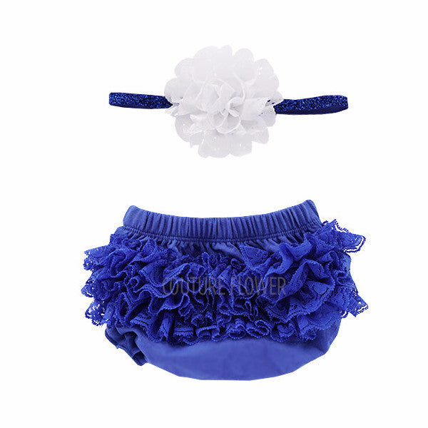 Royal Blue Lace Ruffle Bottom Bloomer & Headband Set