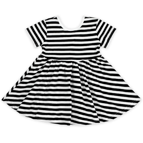 Short Sleeve Black & White Stripe Twirl Dress