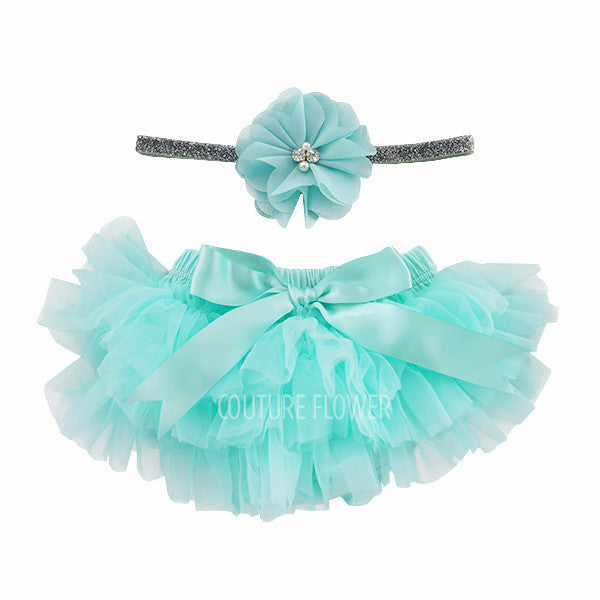 Aqua and Silver Tutu Bloomer & Headband Set