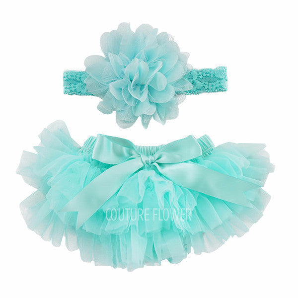 Aqua Tutu Bloomer & Headband Set