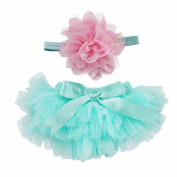 Aqua and Pink Tutu Bloomer & Headband Set