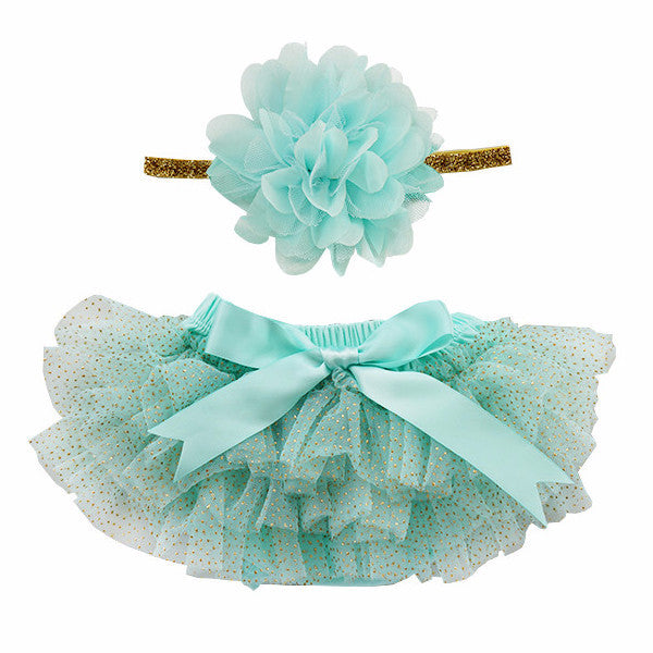 Aqua and Gold Glitter Tutu Bloomer & Headband Set