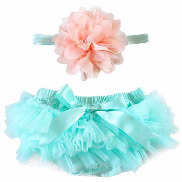 Aqua and Peach Tutu Bloomer & Headband Set