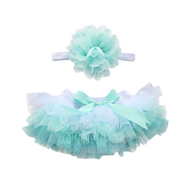 Aqua Mint Ombre Tutu Bloomer & Headband Set