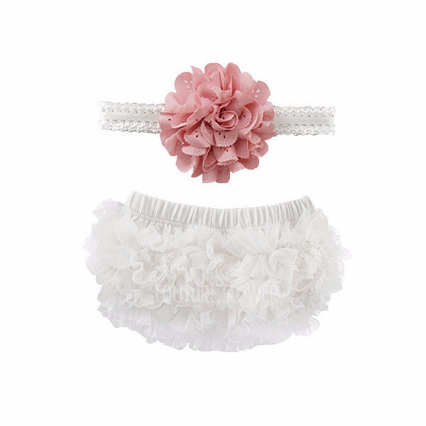 Off White and Mauve Ruffle Bottom Bloomer & Headband Set
