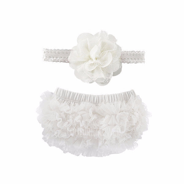 Off White Ruffle Bottom Bloomer & Headband Set