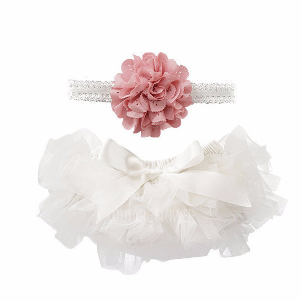 Off White and Mauve Tutu Bloomer & Headband Set