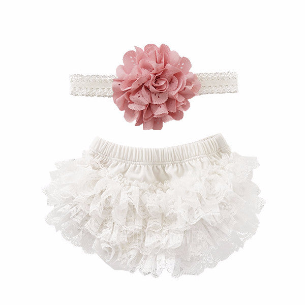 Off White and Mauve Lace Ruffle Bottom Bloomer & Headband Set