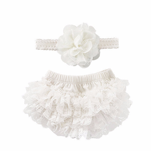 Off White Lace Ruffle Bottom Bloomer & Headband Set
