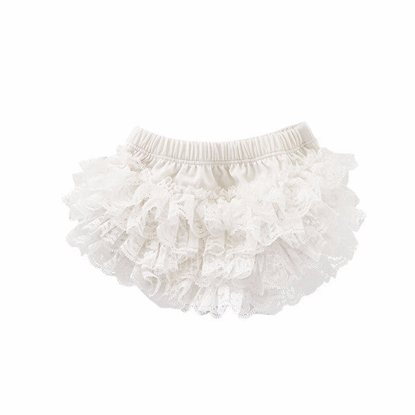 Off White Lace Ruffle Bottom Bloomer