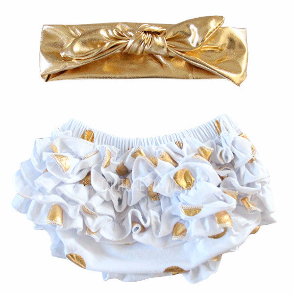 White and Gold Dot Bloomer and Top Knot Headband Set