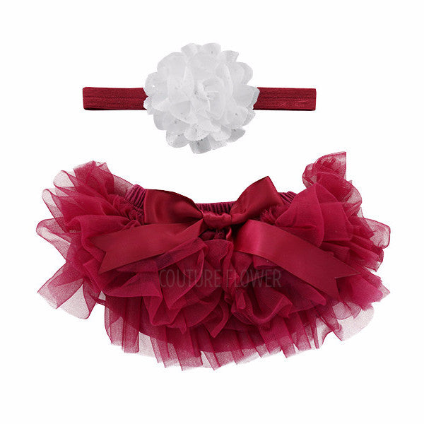 Maroon and White Tutu Bloomer & Headband Set