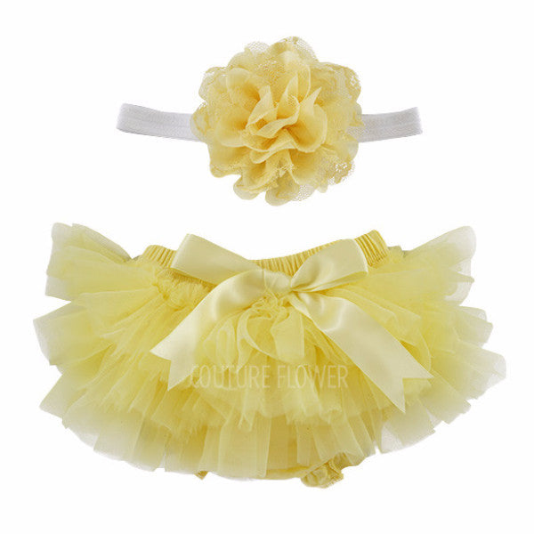 Yellow and White Tutu Bloomer & Headband Set