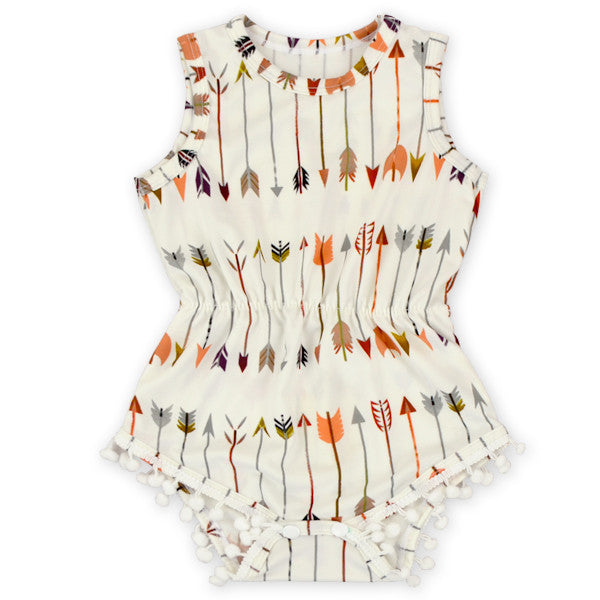 Colorful Arrow Pom Pom Romper