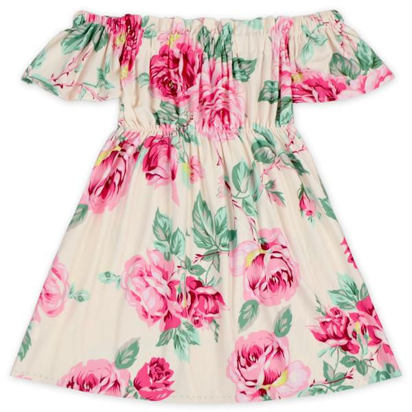 Petal Pink Floral Off the Shoulder Dress