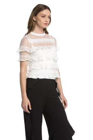 Asymmetric Woven Cold Shoulder Top