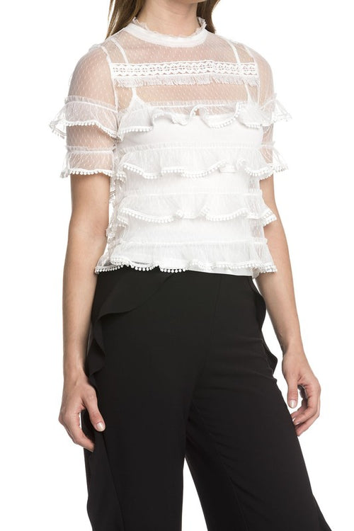 White Mesh Ruffle Top - Dawn and Rae Boutique