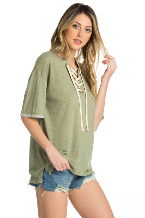 Oversized Lace Up Tee - Dawn and Rae Boutique