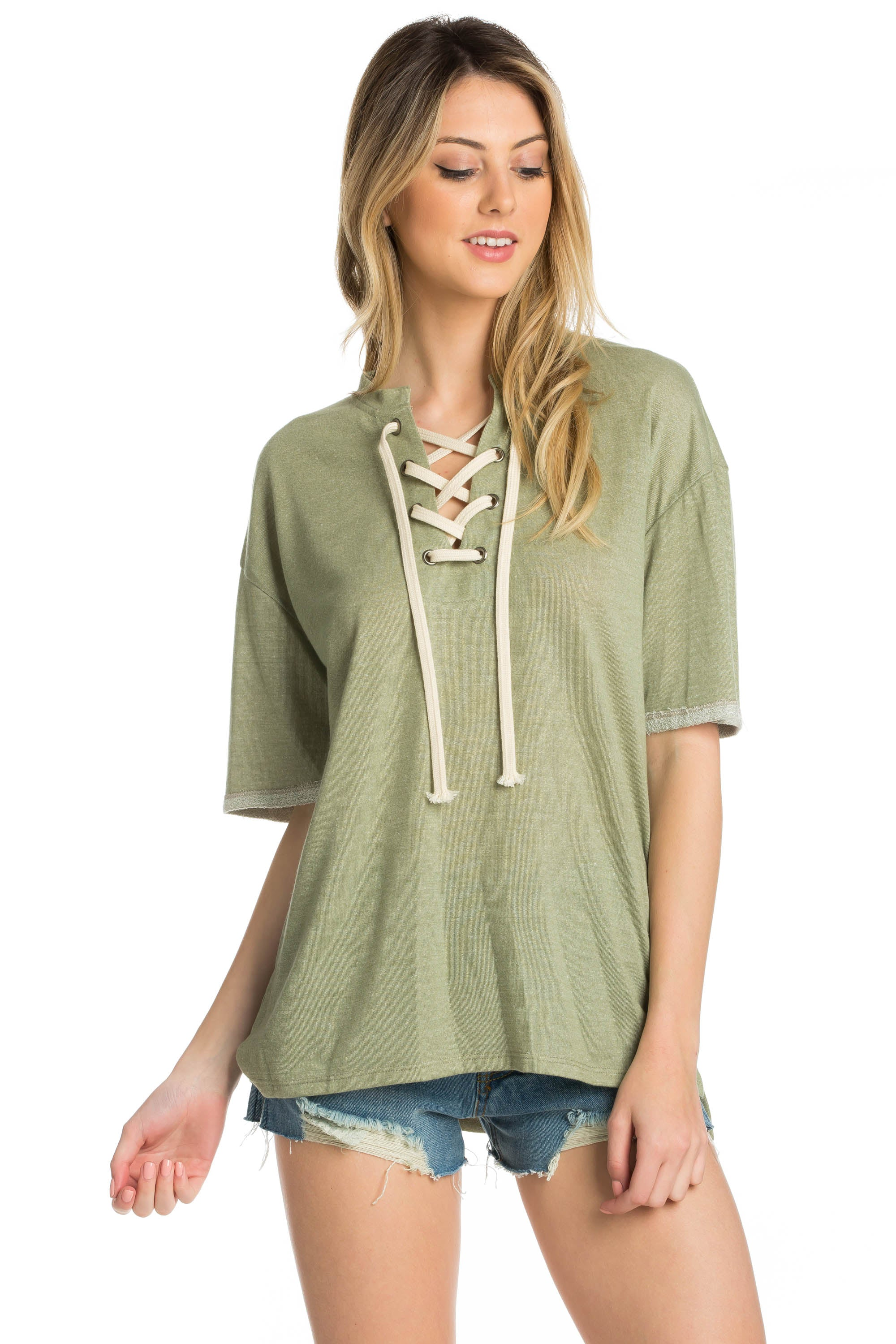 green short sleeve t shirt with front lace up