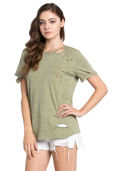 green distressed t shirt
