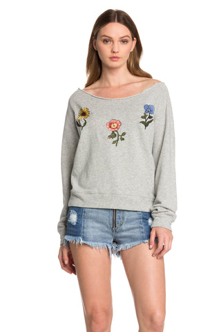 Wide Neck Floral Sweater