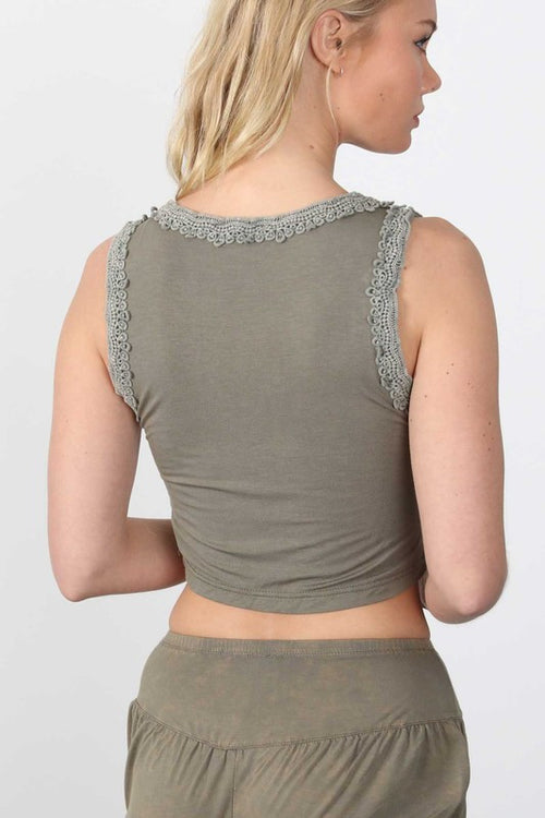 Olive Crochet Trim Crop Top - Dawn and Rae Boutique