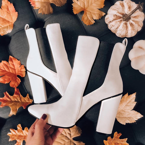white pointed toe ankle booties
