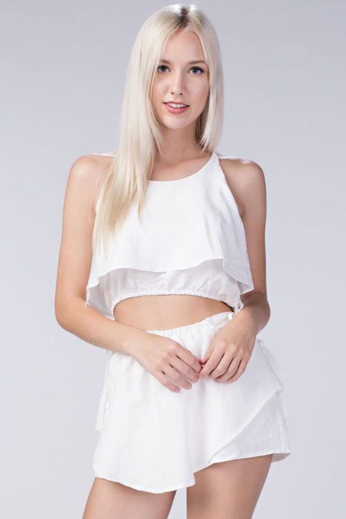 White Two Piece Skirt Set - Dawn and Rae Boutique