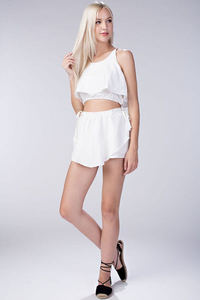 White Two Piece Skirt Set