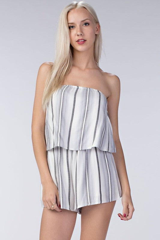 Grey Stripe Layered Romper - Dawn and Rae Boutique