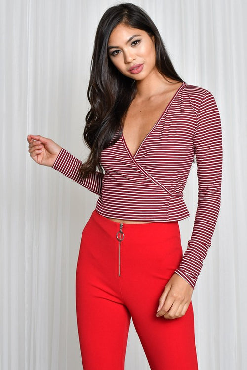 Red Stripe Wrap Top - Dawn and Rae Boutique