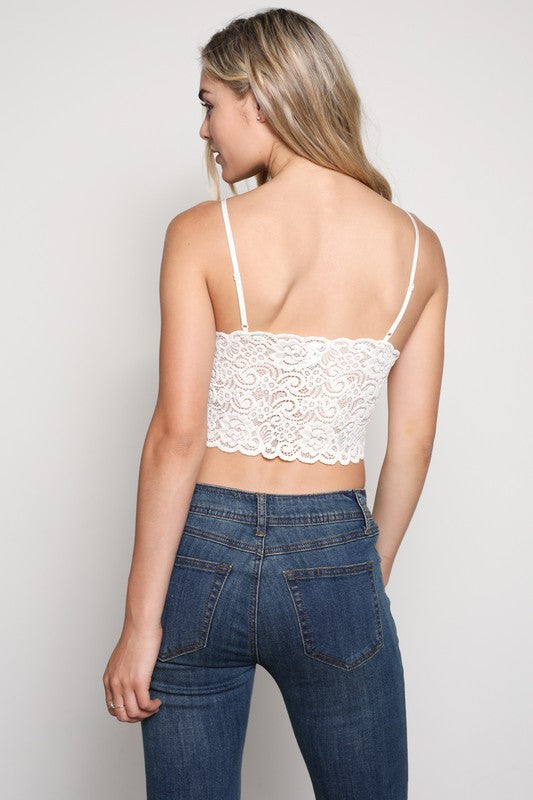Ivory Lace Padded Bralette - Dawn and Rae Boutique