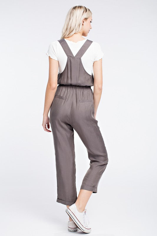 Grey Cropped Overalls - Dawn and Rae Boutique