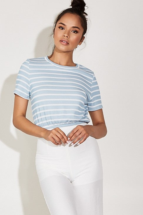 Striped Crop Top T-shirt - Dawn and Rae Boutique