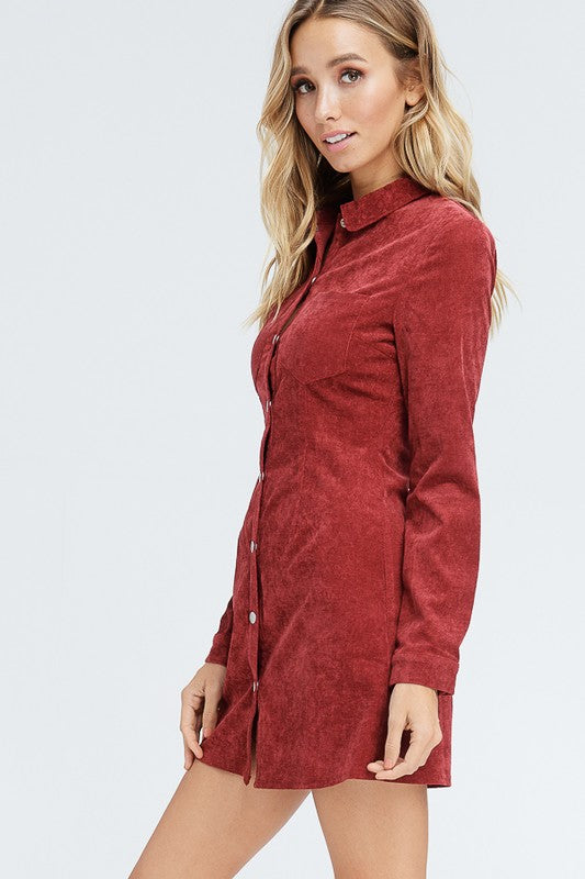 Burgundy Collard Dress