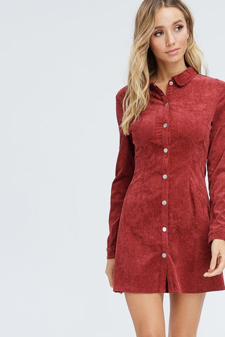 Cherry Button Up Mini Dress