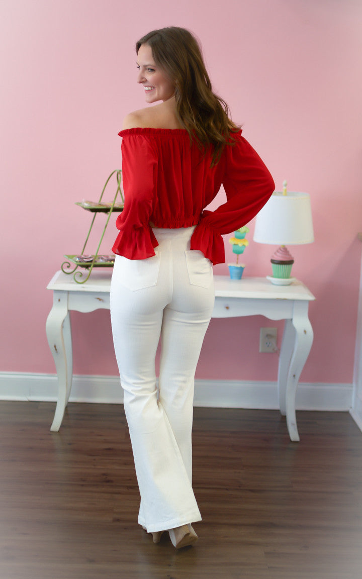 White High Waisted Denim Bell Bottoms - Dawn and Rae Boutique