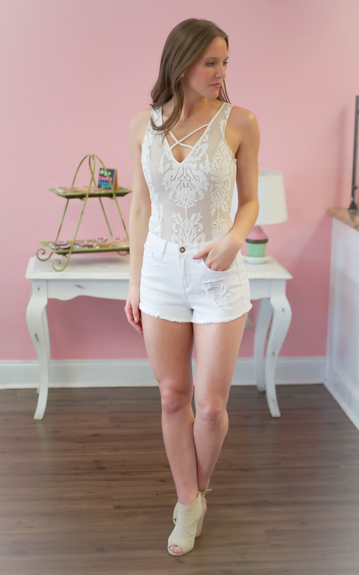 Blush Crochet Lace Bodysuit - Dawn and Rae Boutique