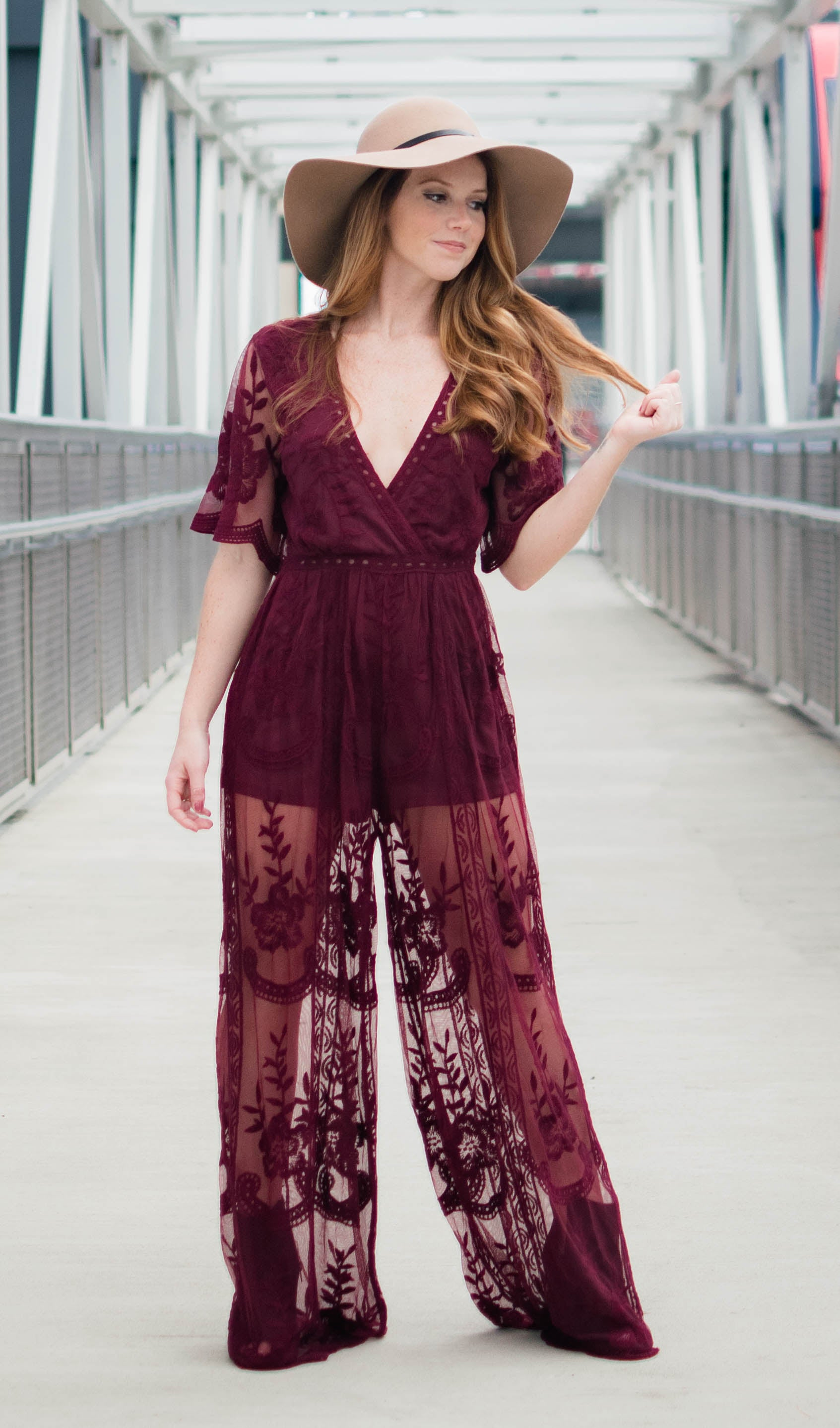 Wineo Deep V Lace Jumpsuit - Dawn and Rae Boutique