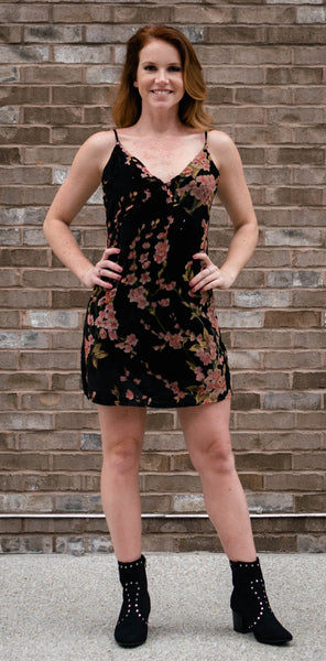 black dress with all over floral print