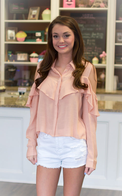 Coral Cold Shoulder Top - Dawn and Rae Boutique