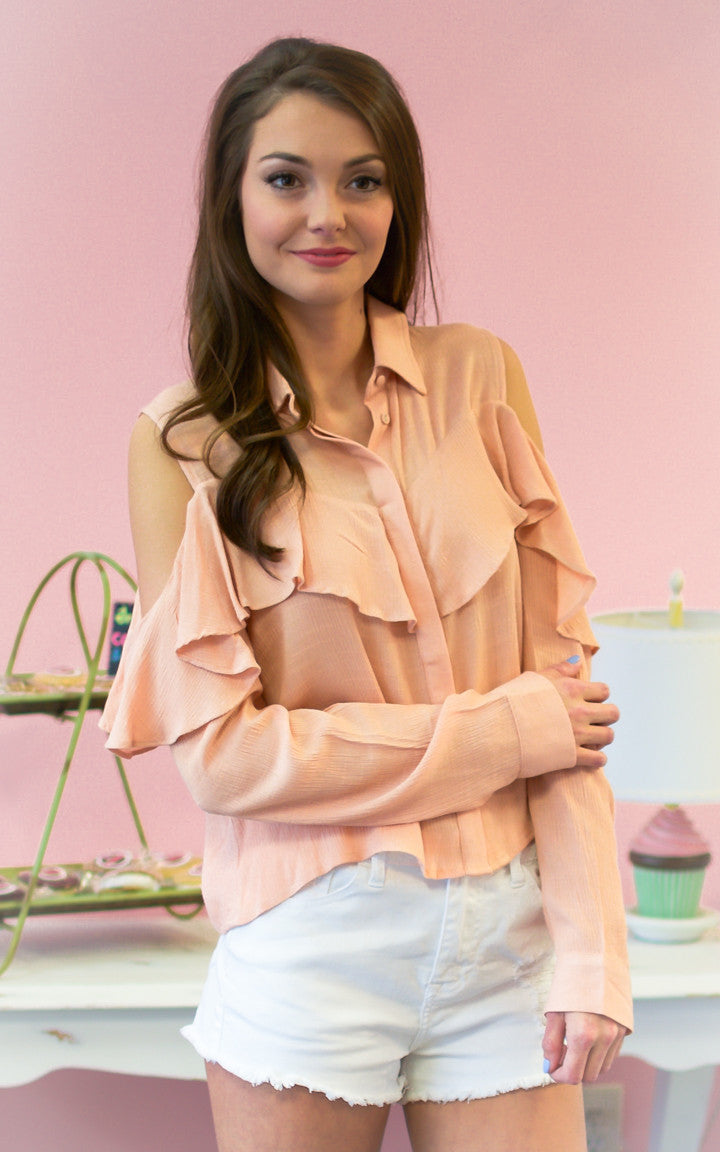 orange cold shoulder long sleeve blouse