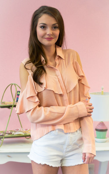 open shoulder orange top