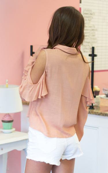 cold shoulder orange top