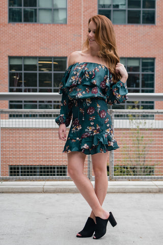 floral wrap mini skirt with matching off the shoulder top