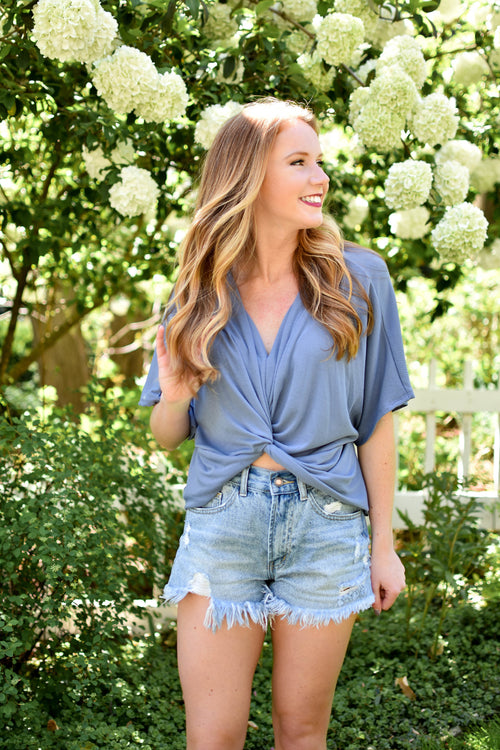 Blue Emory Cross Top - Dawn and Rae Boutique