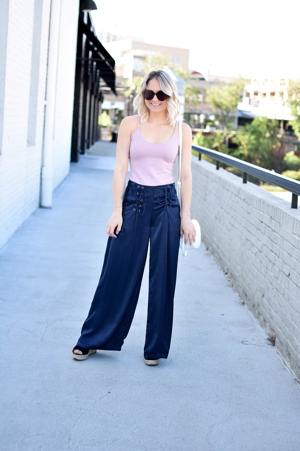 Blue Lace Up Palazzo Pants - Dawn and Rae Boutique