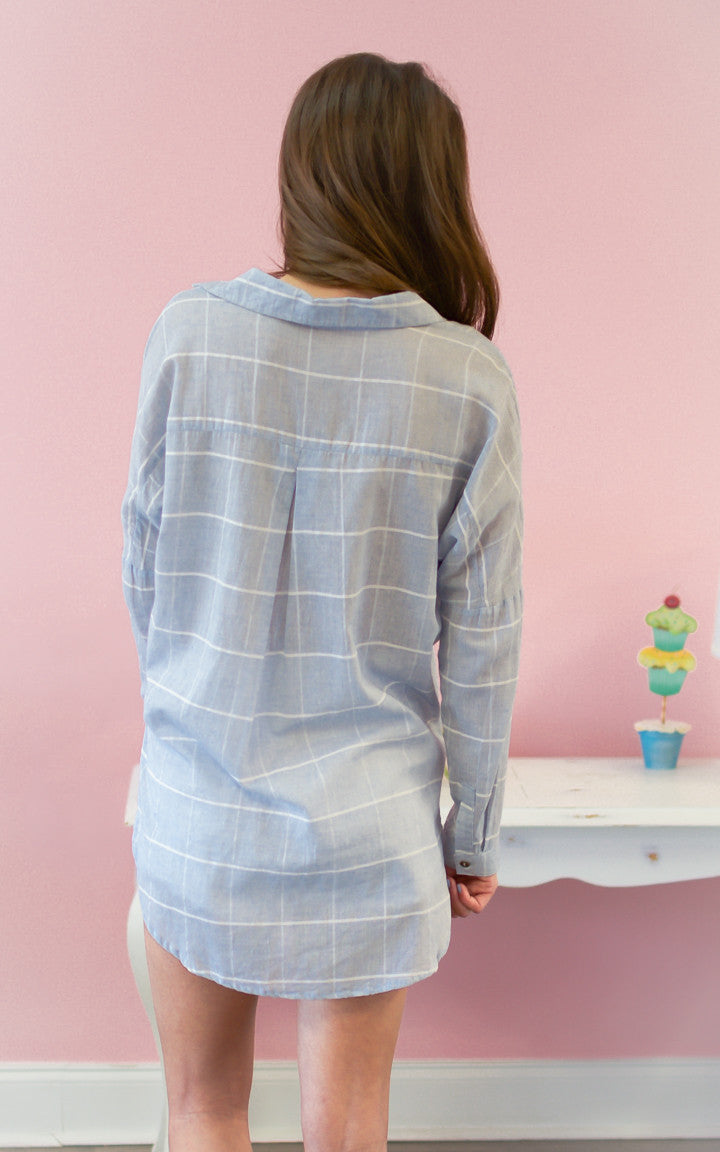 Plaid Promise Blue Button Down Top - Dawn and Rae Boutique