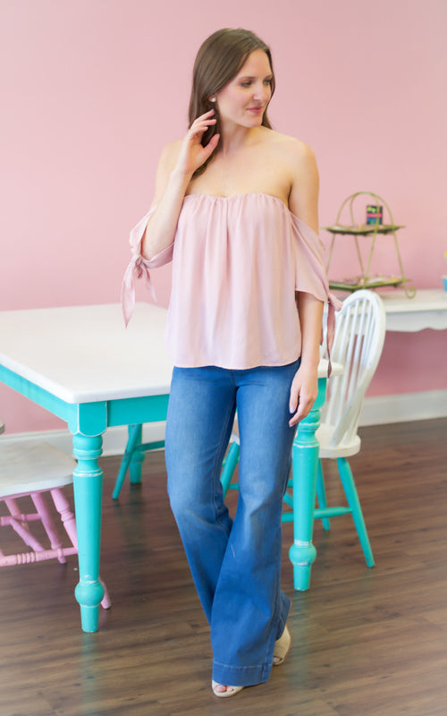 Light Mauve Off The Shoulder Top - Dawn and Rae Boutique